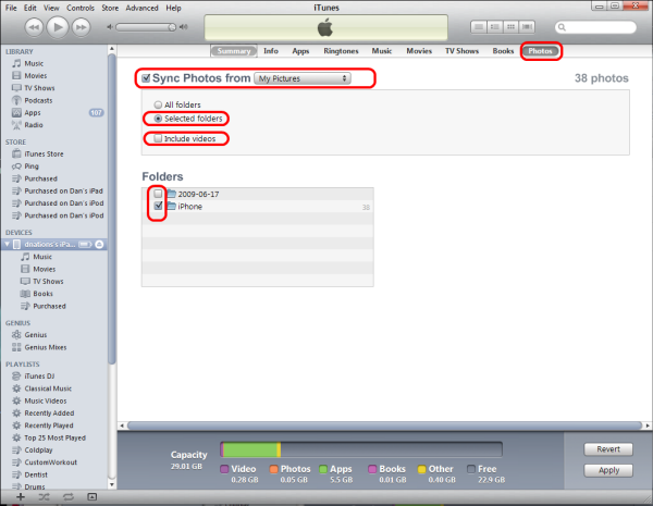 sync photo to itunes