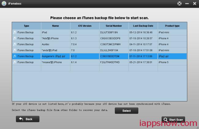choose backup for ipad air