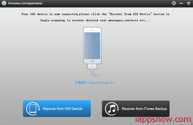main interface from ios device