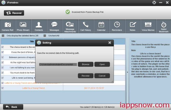 recover notes backup