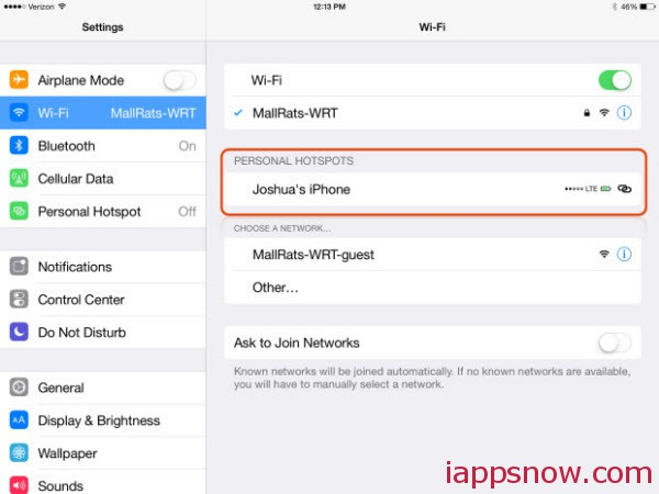 see the signal strength and battery life you use as an iOS 8 hotspot