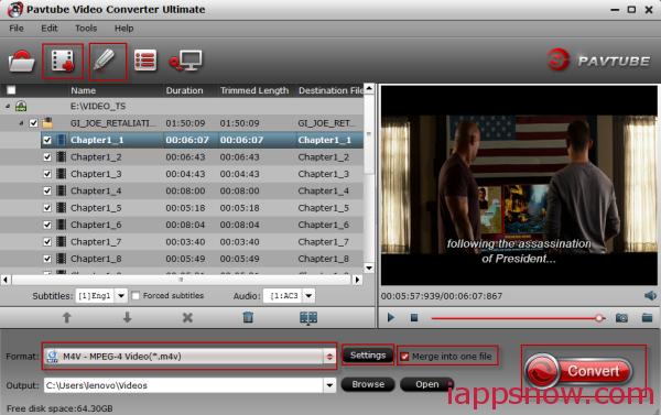 Convert DVD VOB to M4V