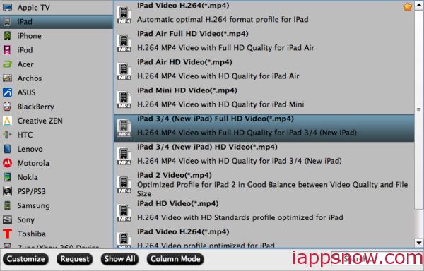iPad 3/4 video format