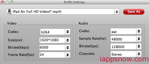 iPad Air/iPad Air 2 Video Settings