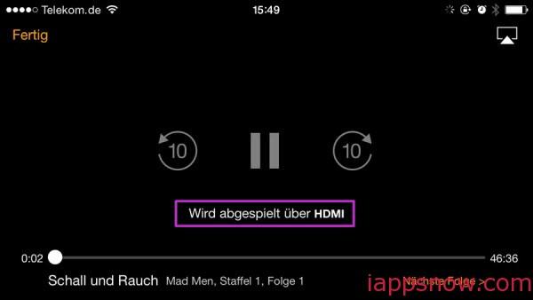 stream video to Apple TV via HDMI