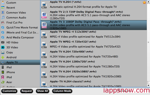 Apple TV 3 video format