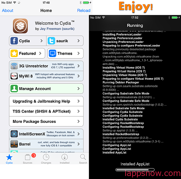 cydia running on iphone