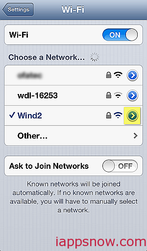 iPhone select wifi network