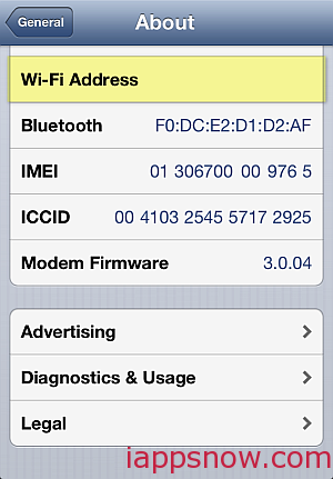wifi address not shown iPhone