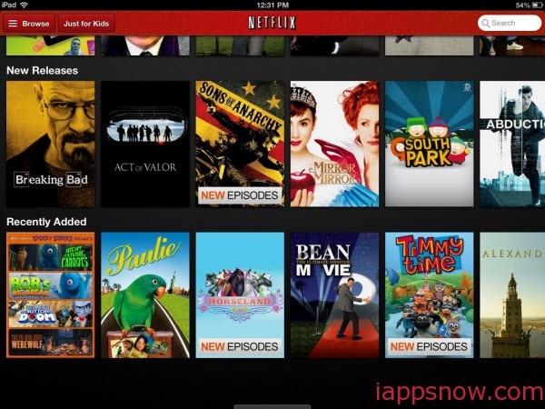 Download the Netflix app on iPad Mini