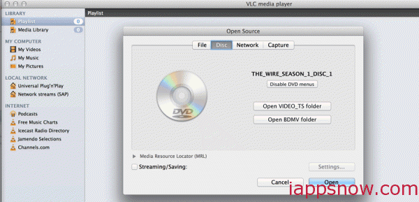 open DVD in VLC