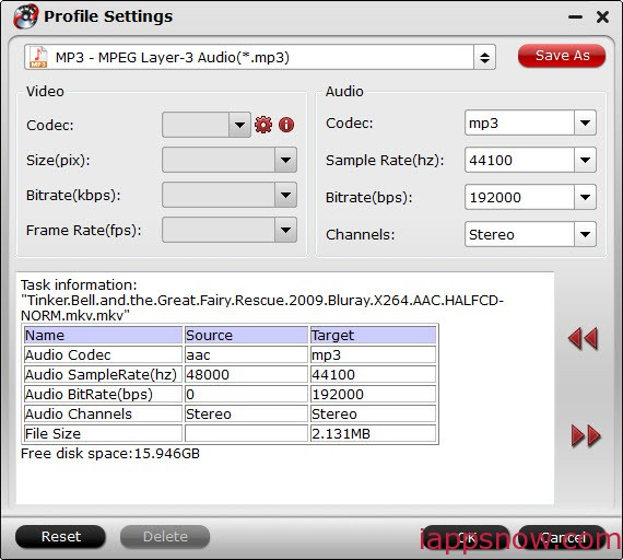 MP3 audios settings for iPhone