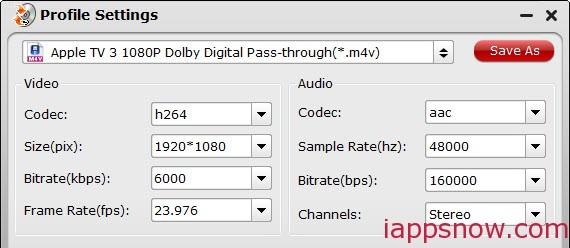Apple TV video settings