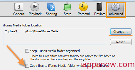 how to find itunes advanced menu